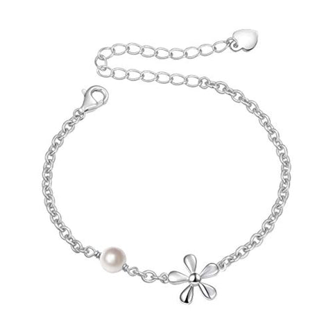 Silver Jewelry Flower Charm with Freshwater Cultured Pearl Adjustable Chain  Bracelet