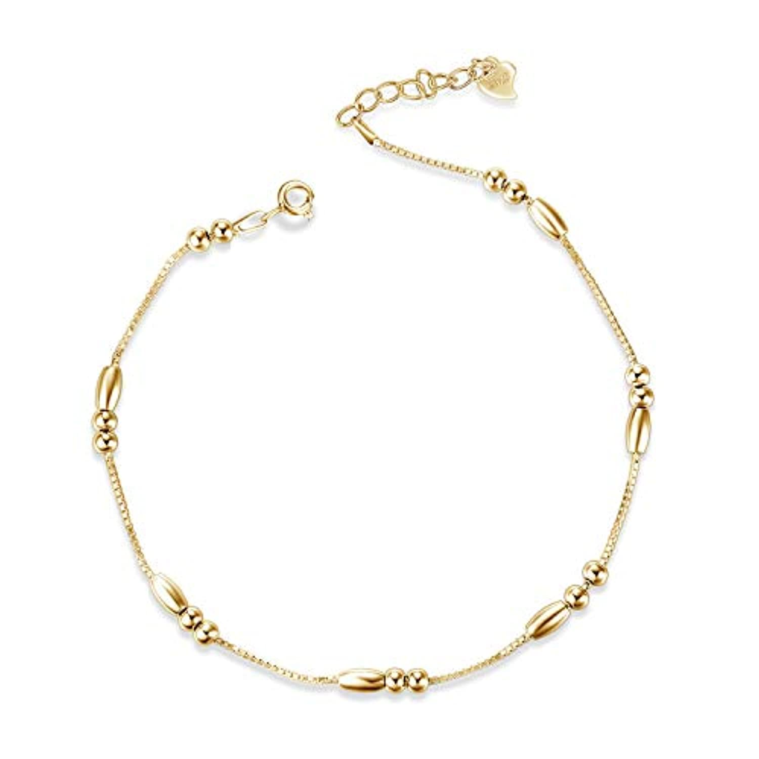 Gold Bead Ankle Bracelets