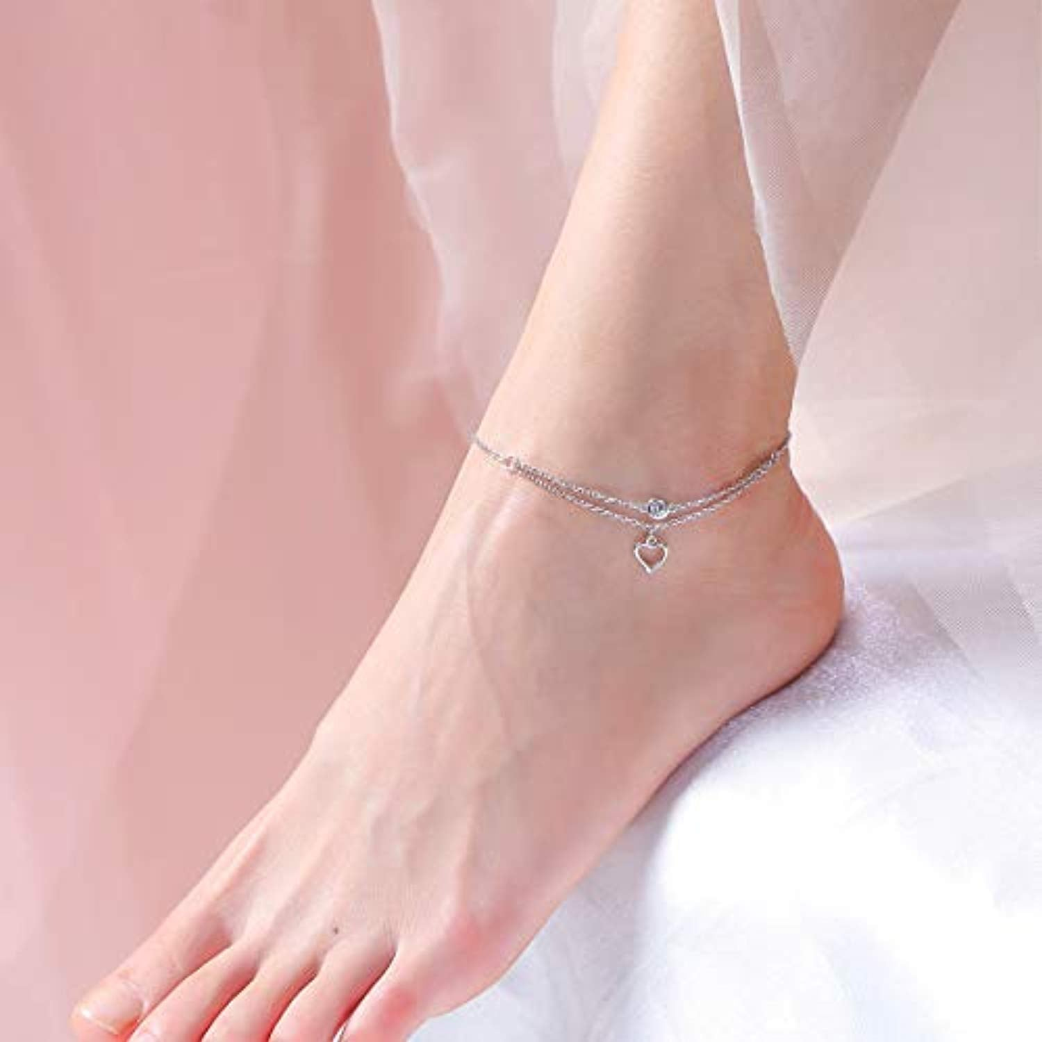 S925 Sterling Silver Adjustable Foot Ankle Bracelet