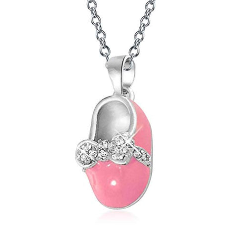 Shoe Charm Pendant Necklace Gift For New Mother Women Pink Enamel Bow Engravable CZ 925 Sterling Silver