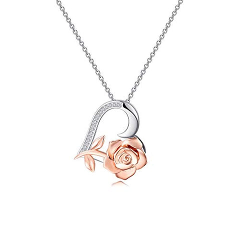 Silver  Flower Love Heart Necklaces