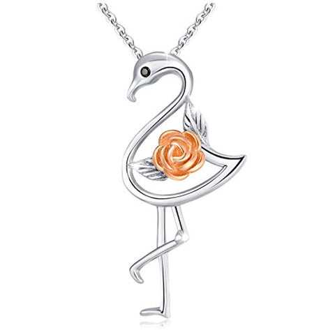 Two Tone Bird Pendant Flamingo Necklace Sterling Silver Rose Flower Flamingo Necklace Gifts for Girls Women Birthday