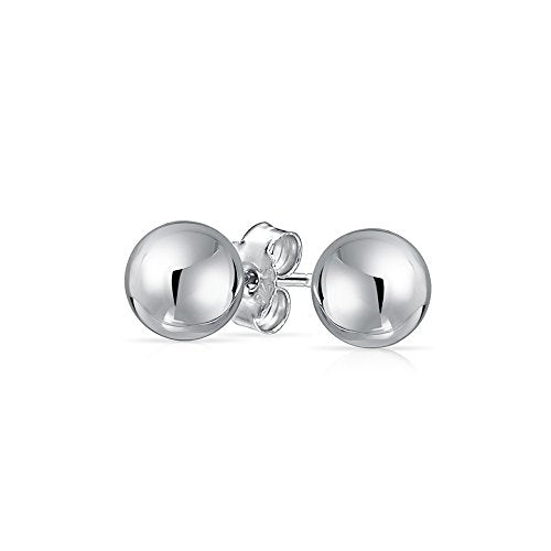 Basic Simple Round Bead Ball Stud Earrings For Women For Teen Shiny 925 Sterling Silver Full Size