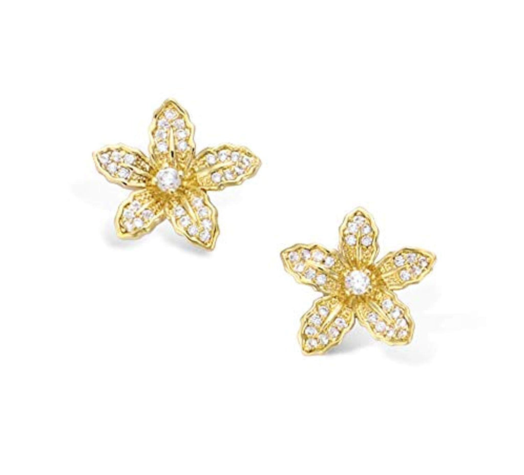 Yellow Gold plated  Cubic Zirconia CZ Flower Stud Earrings Fashion Jewelry