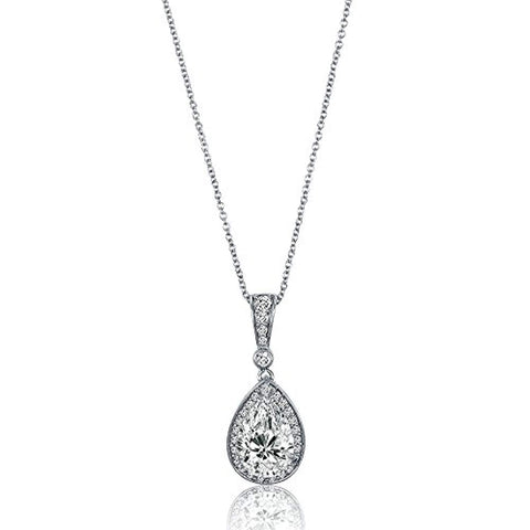 Rhodium Plated Sterling Silver Pear Cut Cubic Zirconia CZ Halo Anniversary Wedding Pendant Necklace