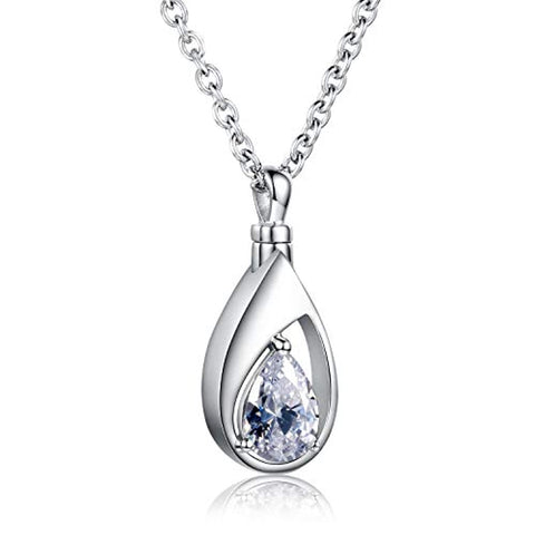 Silver Cremation Jewelry Memorial CZ Teardrop Ashes Keepsake Urns Pendant Necklace