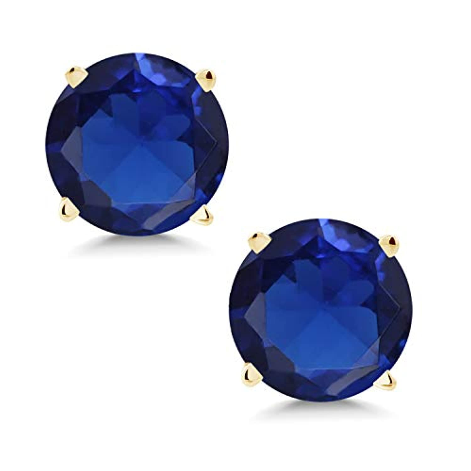 14K Gold Blue Created Sapphire Stud Earrings For Women