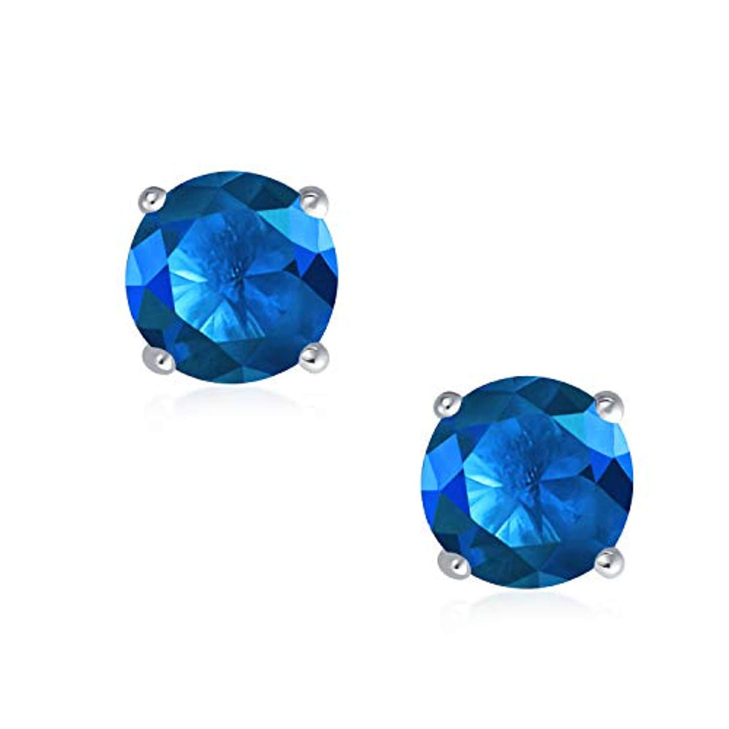 Round Cubic Zirconia Brilliant Cut AAA CZ Solitaire Stud Earrings Sterling Silver Screwback