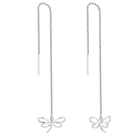 925 Sterling Silver Cubic Zirconia Threader Dragonfly Earrings,Pull through Long Chain Earrings