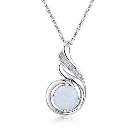 White Opal Phoenix Necklace 925 Sterling Silver Gifts for Women