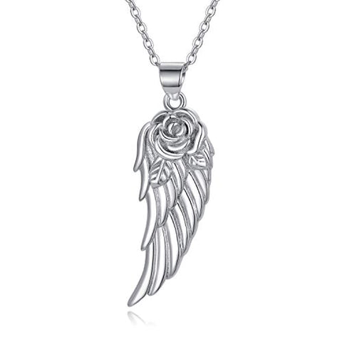 Silver Roses Guardian Angel Wings Pendant Necklace