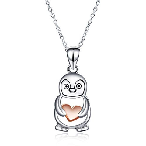 Silver Cute Penguin Hold Rose Gold Plated Heart Pendant Necklace