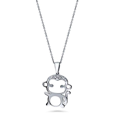 Rhodium Plated Sterling Silver Cubic Zirconia CZ Monkey Wedding Pendant Necklace