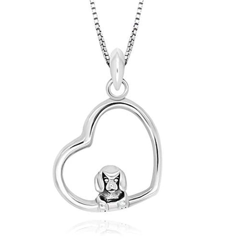 Cute Lovly Dog Heart Pendant Necklace