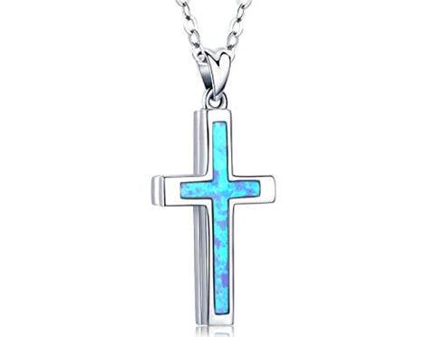 Blue Opal Sterling Silver Cross Necklaces