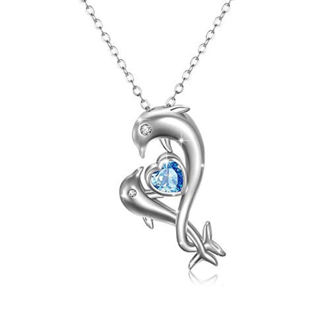 925 Sterling Silver Dolphin Necklace Pendant Jewelry Gifts for Women Girls Dolphin Lovers Birthday Christmas Valentines Thanks Giving Anniversary Day