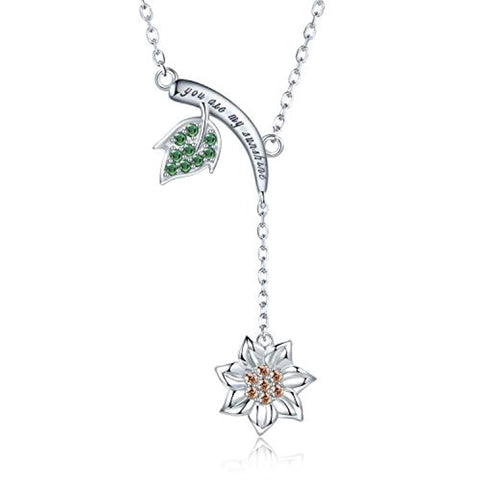 S925 Sterling Silver Sunflower Y Necklace - Christmas Jewelry Gifts for Women