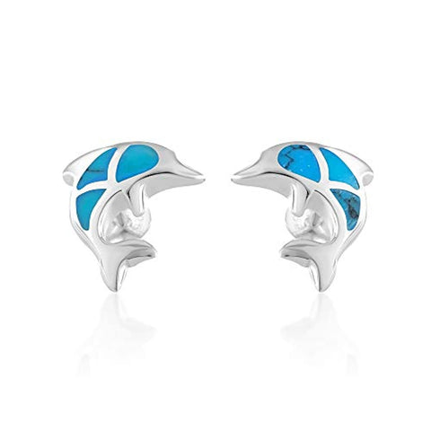 Colored Dolphin Porpose Fish Post Stud Earrings