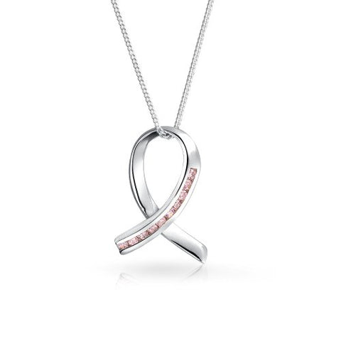 Pink Ribbon Breast Cancer Survivor Cubic Zircon CZ Pendant 925 Sterling Silver Necklace For Women