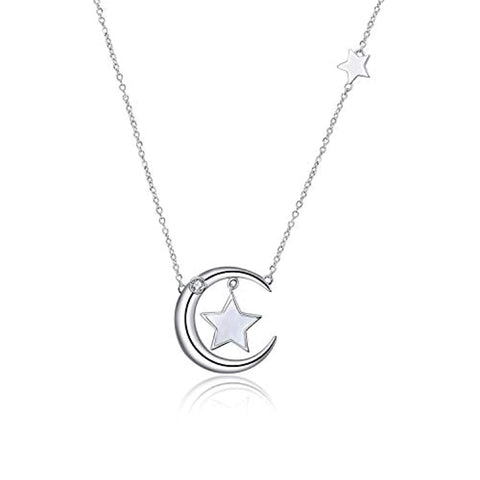 Silver moon and star mother of pearl necklace Pendant