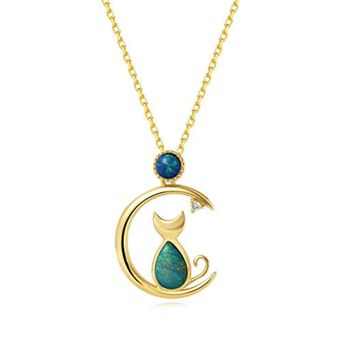 18K Solid Yellow Gold Diamond Real Genuine Natural Fire Opal Cat and Moon Pendant Necklace October Birthstone Fine Jewelry