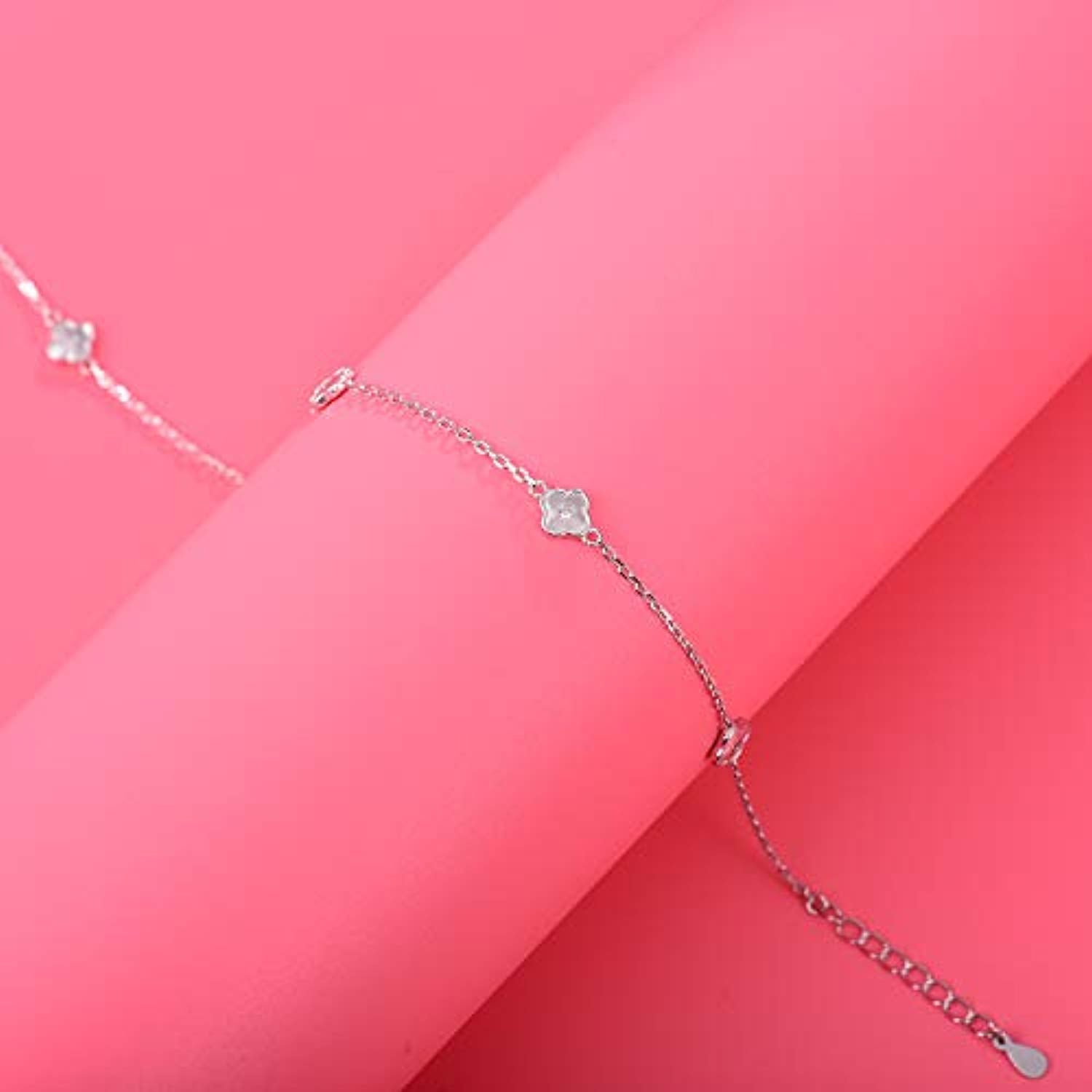 925 Sterling Silver Anklet  Flower Adjustable Anklet Jewelry Foot Chain for Women Girls
