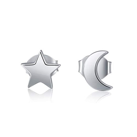 Silver Crescent Moon and Star Stud Earrings