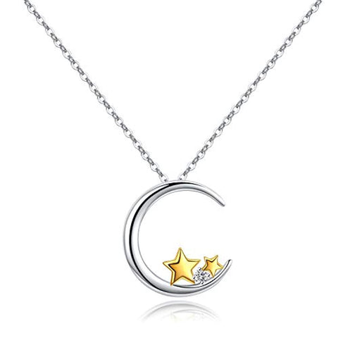 Silver with Yellow Gold Plated Star Cubic Zirconia Moon Crescent Jewelry