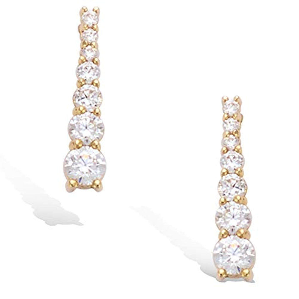 Yellow Gold plated Cubic Zirconia CZ Bar dangle  Earrings Fashion Jewelry