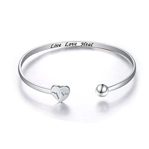 Adjustable Open Cuff Heart Bangle Bracelet