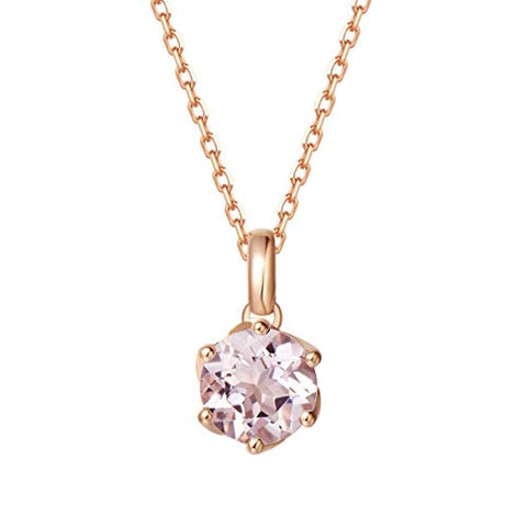 14K Solid Rose Gold  Genuine Natural Pink Morganite Solitaire Pendant Necklace June Birthstone Gemstone Fine Jewelry Gifts