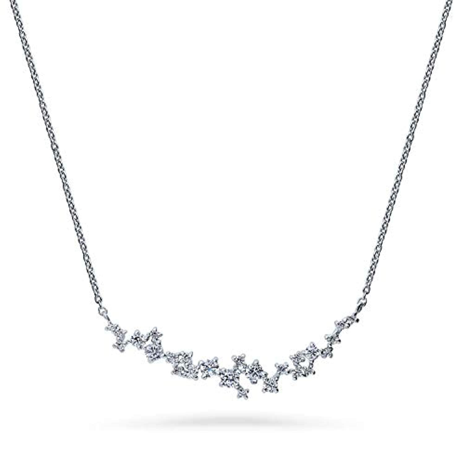 Rhodium Plated Sterling Silver Cubic Zirconia CZ Cluster Bar Wedding Pendant Necklace