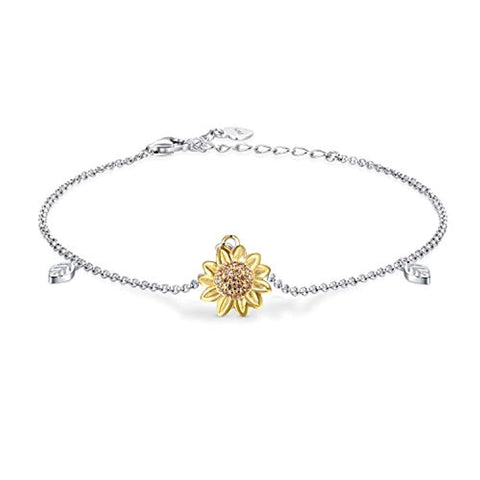 Silver Sunflower Anklet