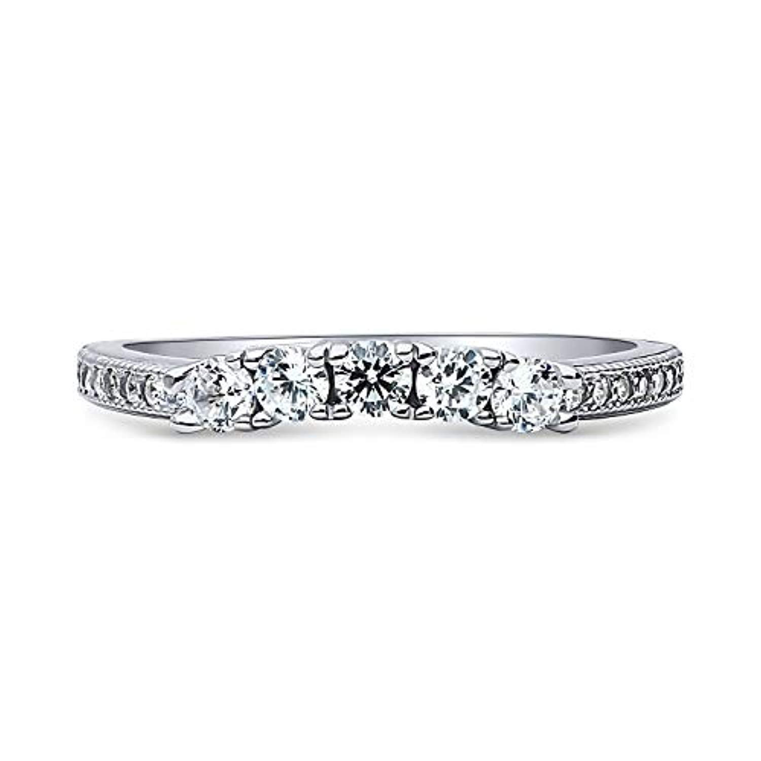 Rhodium Plated Sterling Silver Round Cubic Zirconia CZ 5-Stone Anniversary Wedding Curved Half Eternity Band Ring