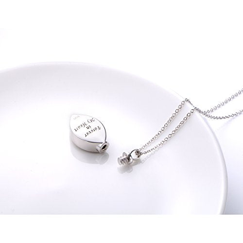 925 Sterling Silver Cremation Jewelry Forever in My Heart Ashes Keepsake Urns Pendant Necklace With Cable Chain