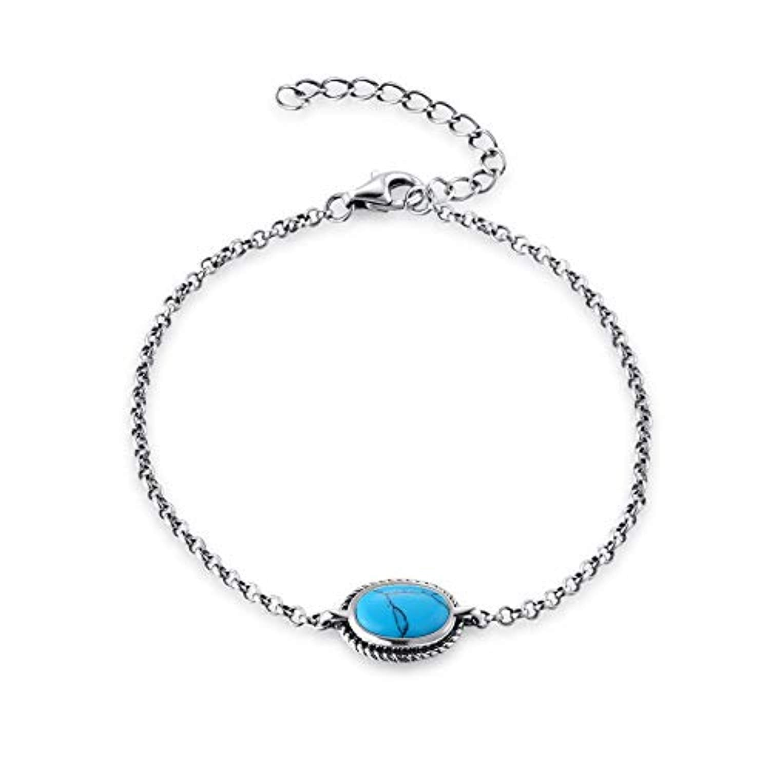 Sterling Silver Created Turquoise Chakra Bracelet December Birthstone Jewelry
