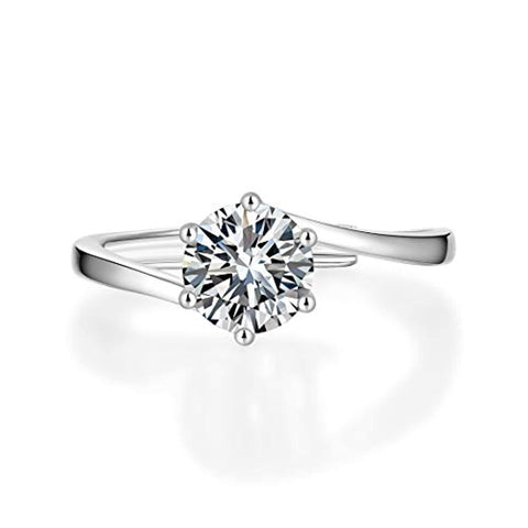 Silver Moissanite 6 Prong Flower Tension Wedding Engagement Ring