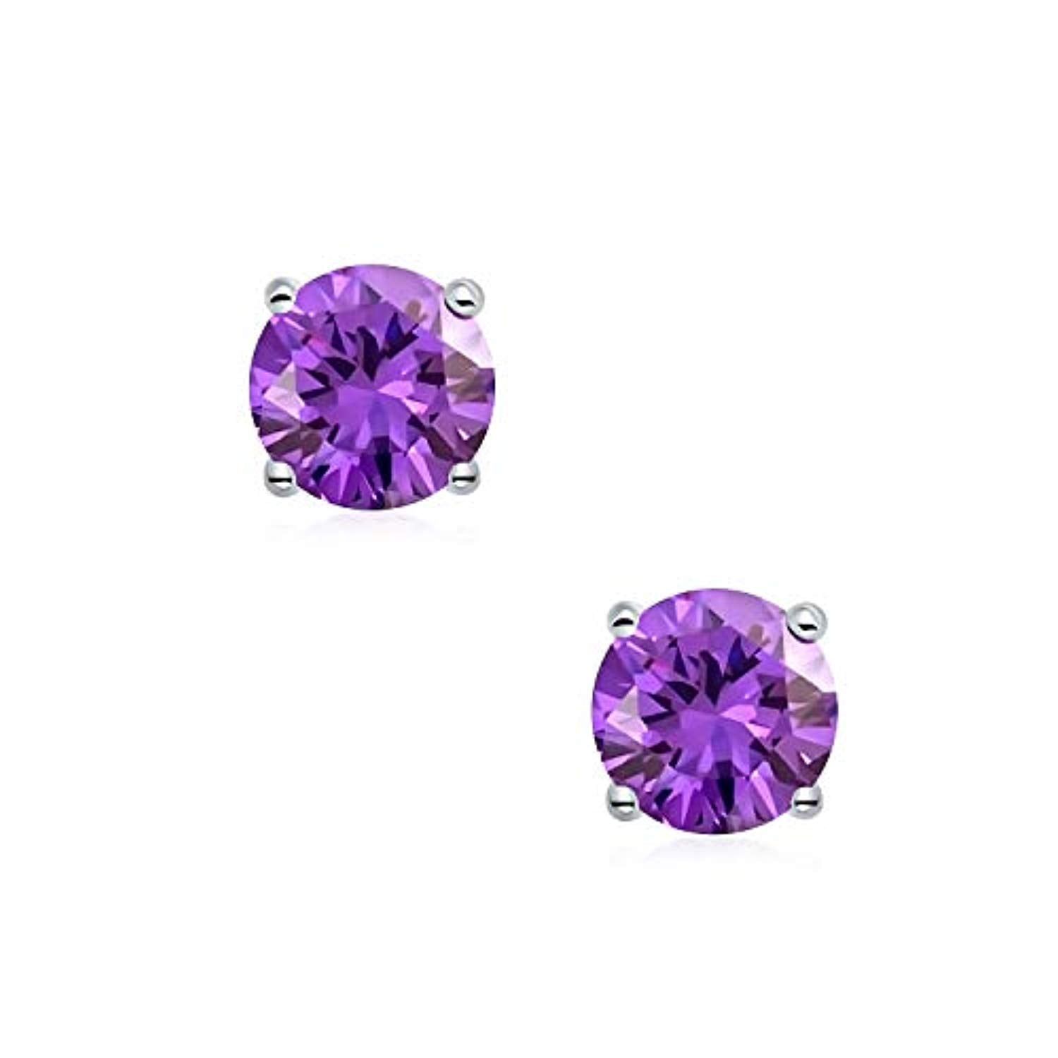 Round Cubic Zirconia AAA CZ Brilliant Cut Solitaire Magnetic Clip On Stud Earrings Sterling Silver