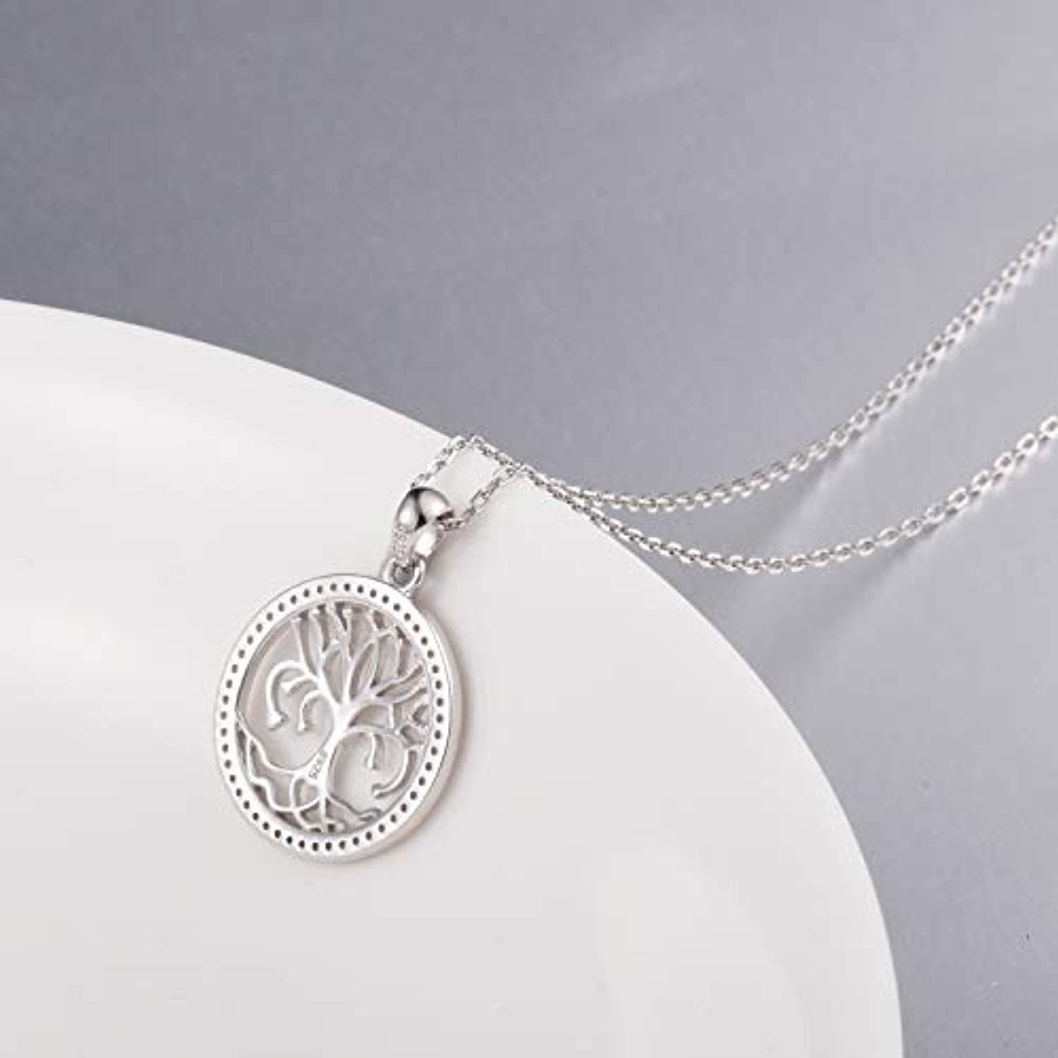 S925 Sterling Silver Tree of Life Love Heart Pendant Necklace for Girls Women