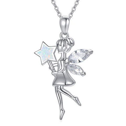 Silver Angel Wings Fairy with magic wand Necklace
