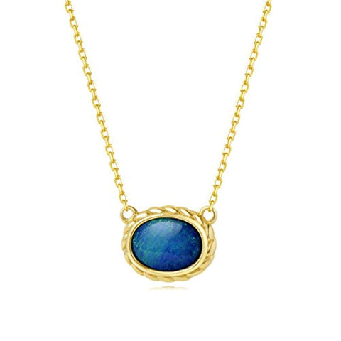 18K Solid Yellow Gold  Real Genuine Natural Fire Opal Oval Pendant Necklace October Birthstone Fine Jewelry Gift for Women