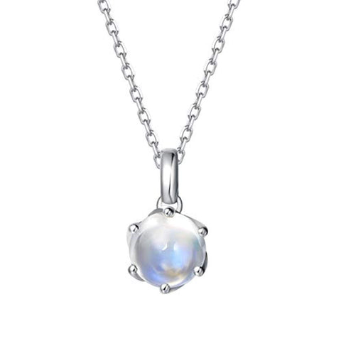 14K Solid White Gold Genuine Natural Moonstone Solitaire Pendant Necklace June Birthstone Gemstone Fine Jewelry Gifts