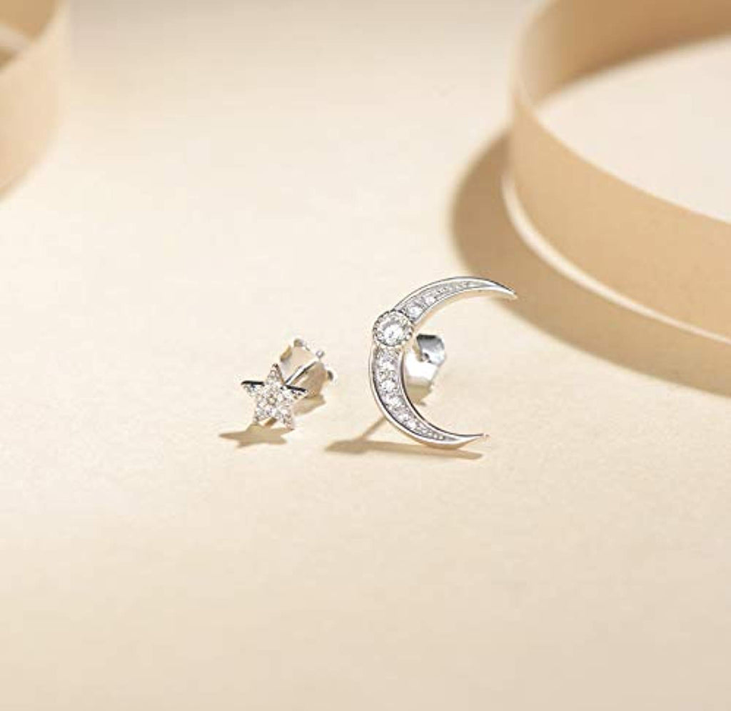 14K White Gold Plated 925 Sterling Silver Cubic Zirconia CZ Crescent Moon and Star Dainty Small Tiny Asymmetric Stud Earrings Jewelry Gifts