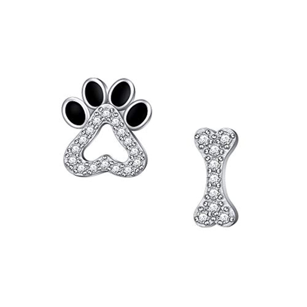 Paw Print Cat Puppy Paw Earrings Sterling Silver Hypoallergenic Dog Paw and Bone Friendship Cubic Zirconia Paw Set for Women Teen Girls