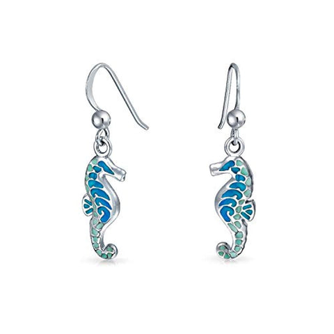 Nautical Blue Green Enamel Tropical Beach Seahorse Dangle Earrings For Women Fish Wire 925 Sterling Silver