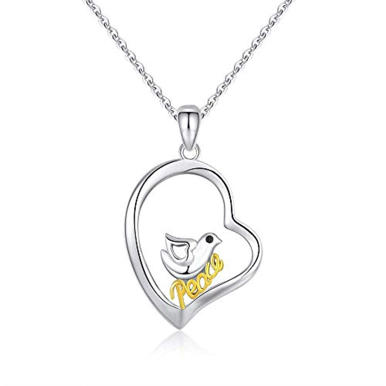 Dove Necklace 925 Sterling Silver Dove Bird of Love Peace Pendant Necklace for Women Graduated Gifts