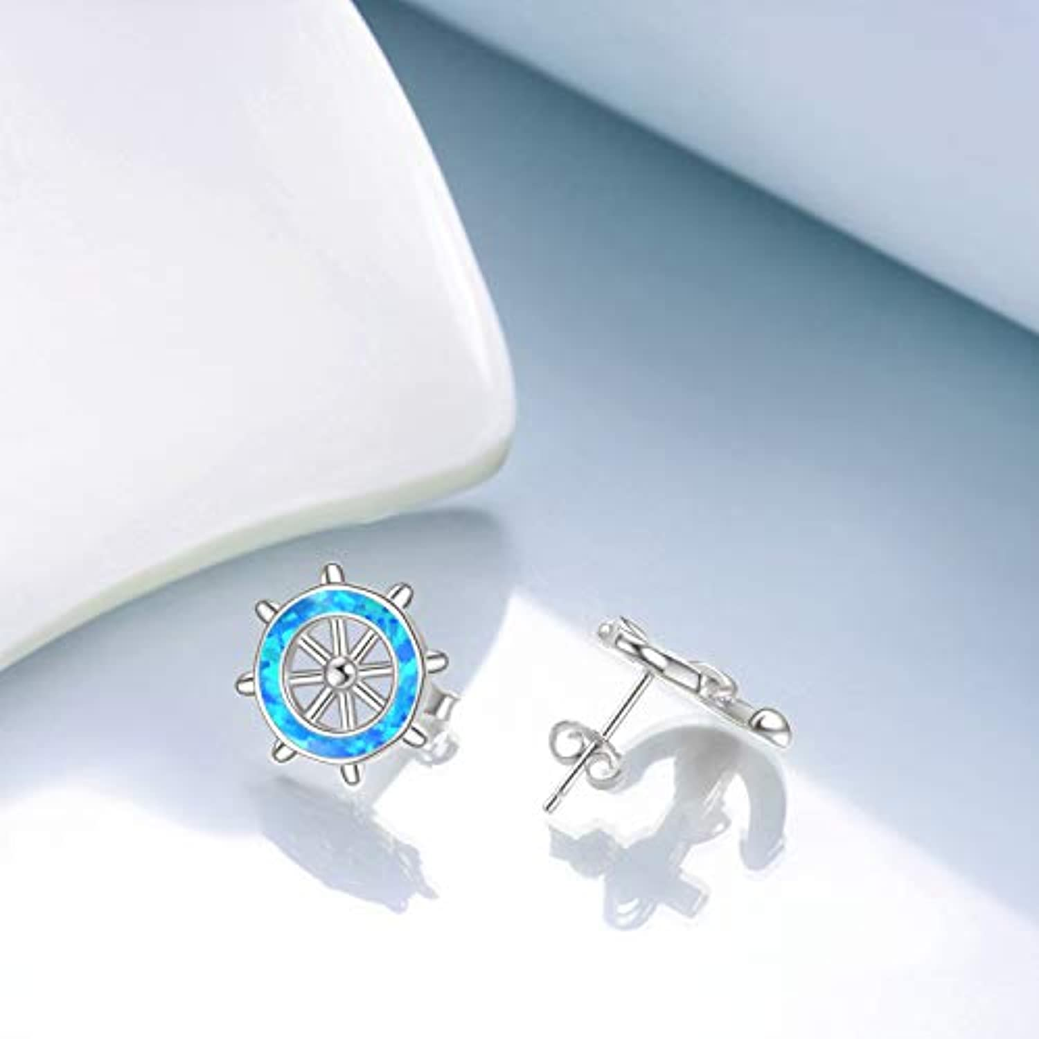 Anchor Stud Earrings Sterling Silver Hypoallergenic Rudder Studs Nautical Theme Anchor Earrings Jewelry for Women Girls Unisex