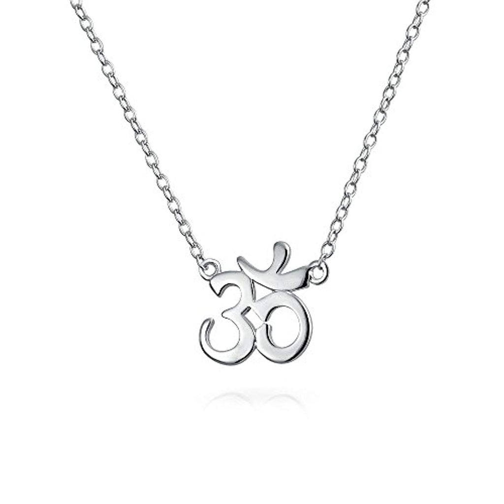 Sanskrit Symbol Yoga Spiritual Harmony Aum Om Ohm Pendant Necklace For Women 925 Sterling Silver