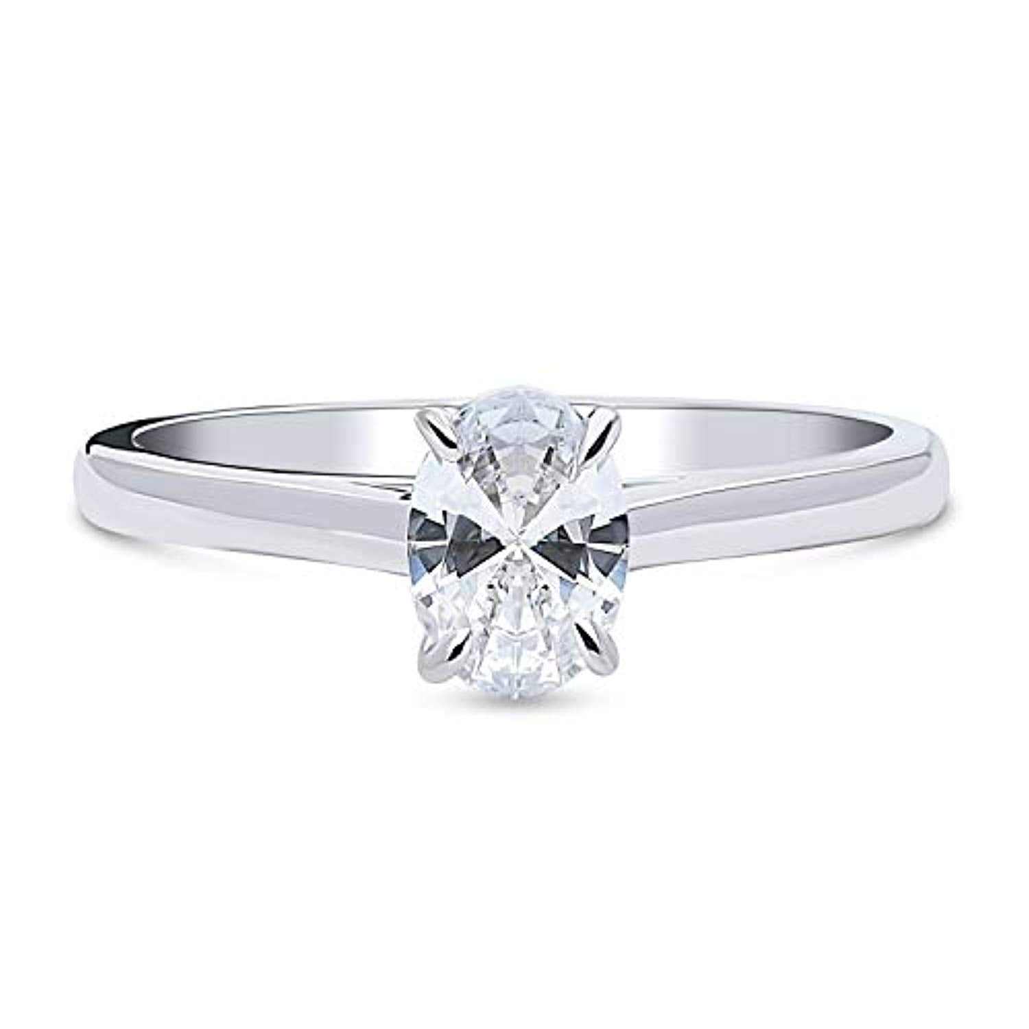 Rhodium Plated Sterling Silver Solitaire Promise Engagement Ring Made with Swarovski Zirconia Oval Cut