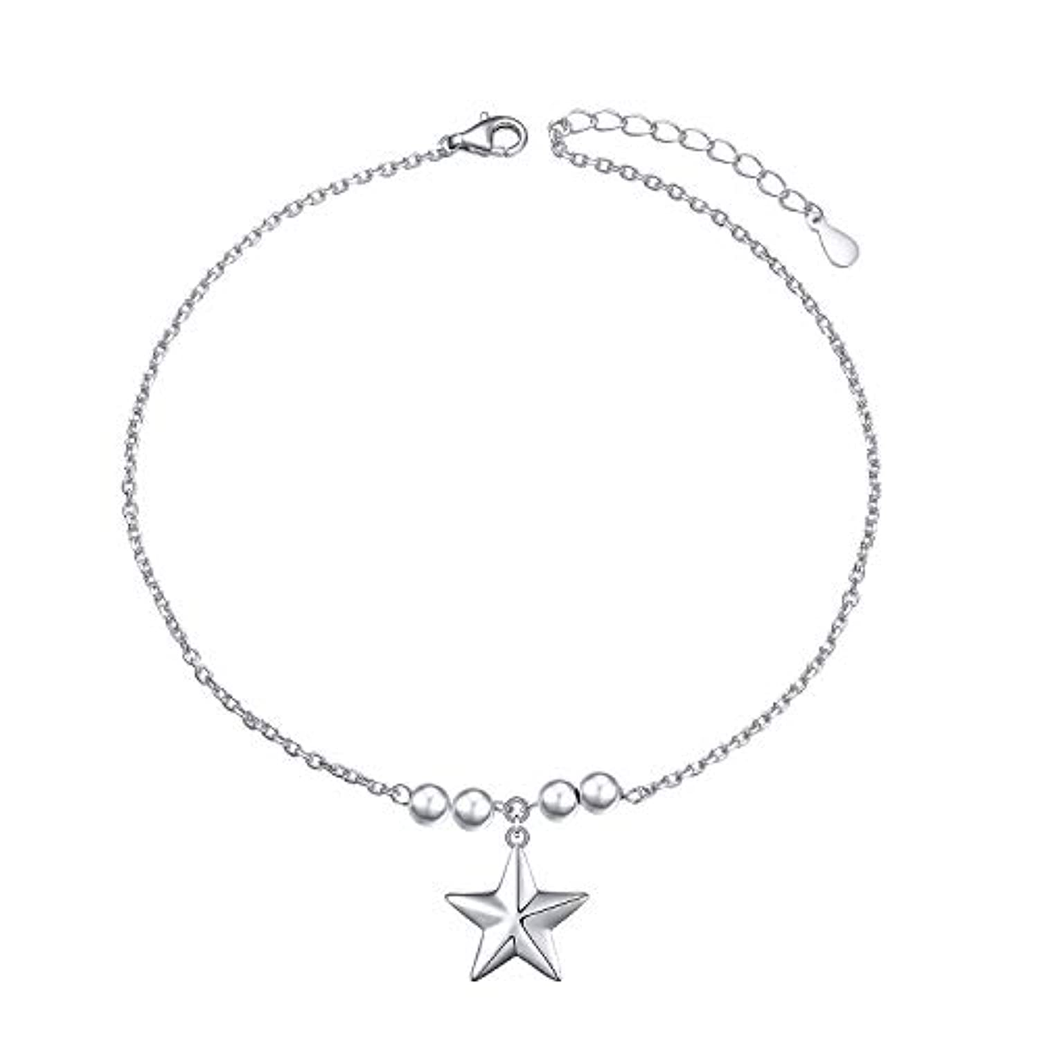 S925 Sterling Silver Anklet for Women Girl Star Charm Adjustable Foot Anklet Jewelry Birthday Gift